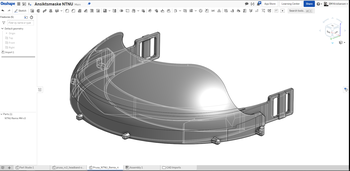 Slik ser bremmen på visiret ut i CAD-designprogrammet.