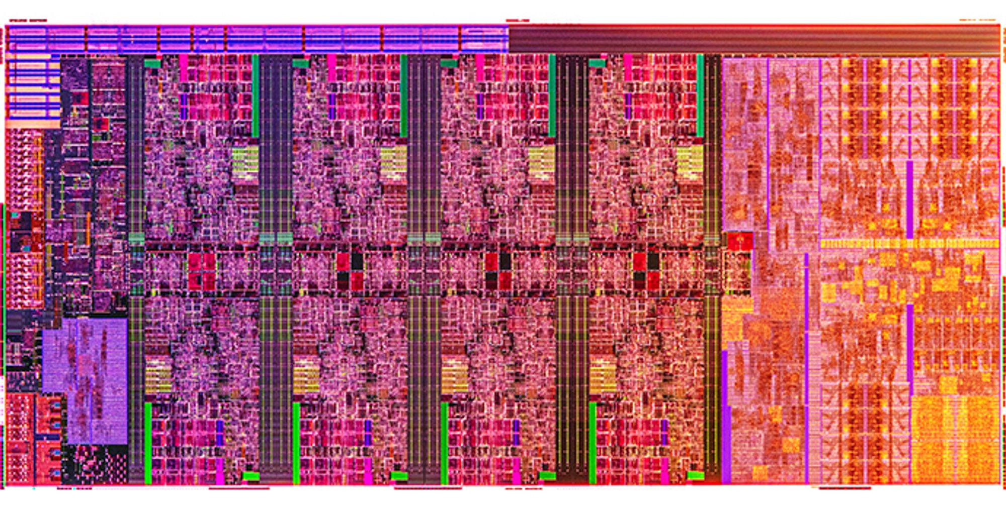 Forstørret bilde av waferen til en 10. generasjon Intel Core H-prosessor.