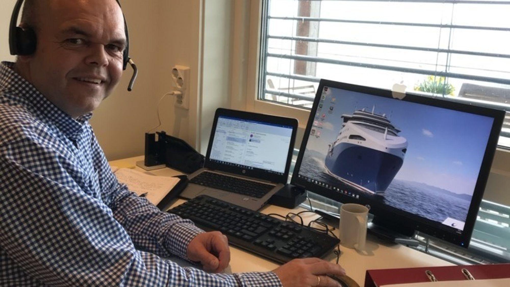 Ove Wilhelmsen i Wärtsilä designer en krilltråler for et kinesisk rederi.