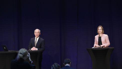 egjeringen holdt torsdag kveld pressekonferanse om kompensasjonsordning til bedrifter . Tilstede var blant andre finansminister Jan Tore Sanner (H) og næringsminister Iselin Nybø (V)