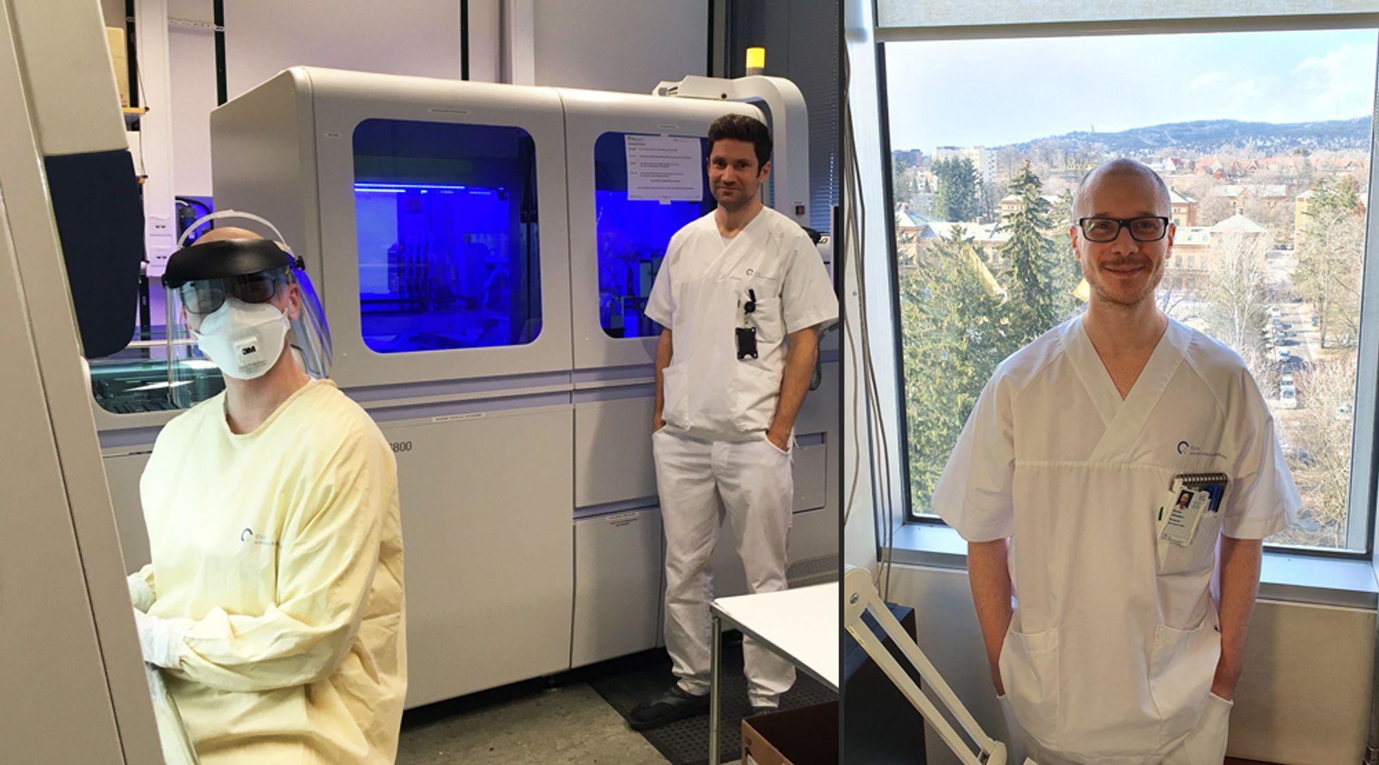 Bioingeniør Øyvind Sebusæter til venstre, og til høyre med smittevernutstyr.  Kollega og mikrobiolog Samuel Fredriksson i midten.
