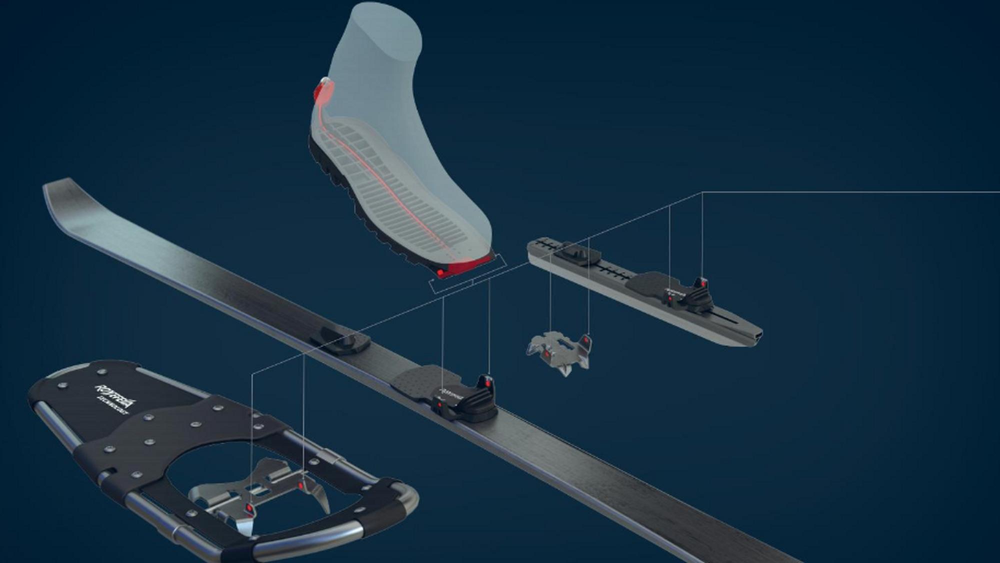 Denne konseptskissen viser noen av prinsippene Rottefella har jobbet med for et nytt bindingssystem.