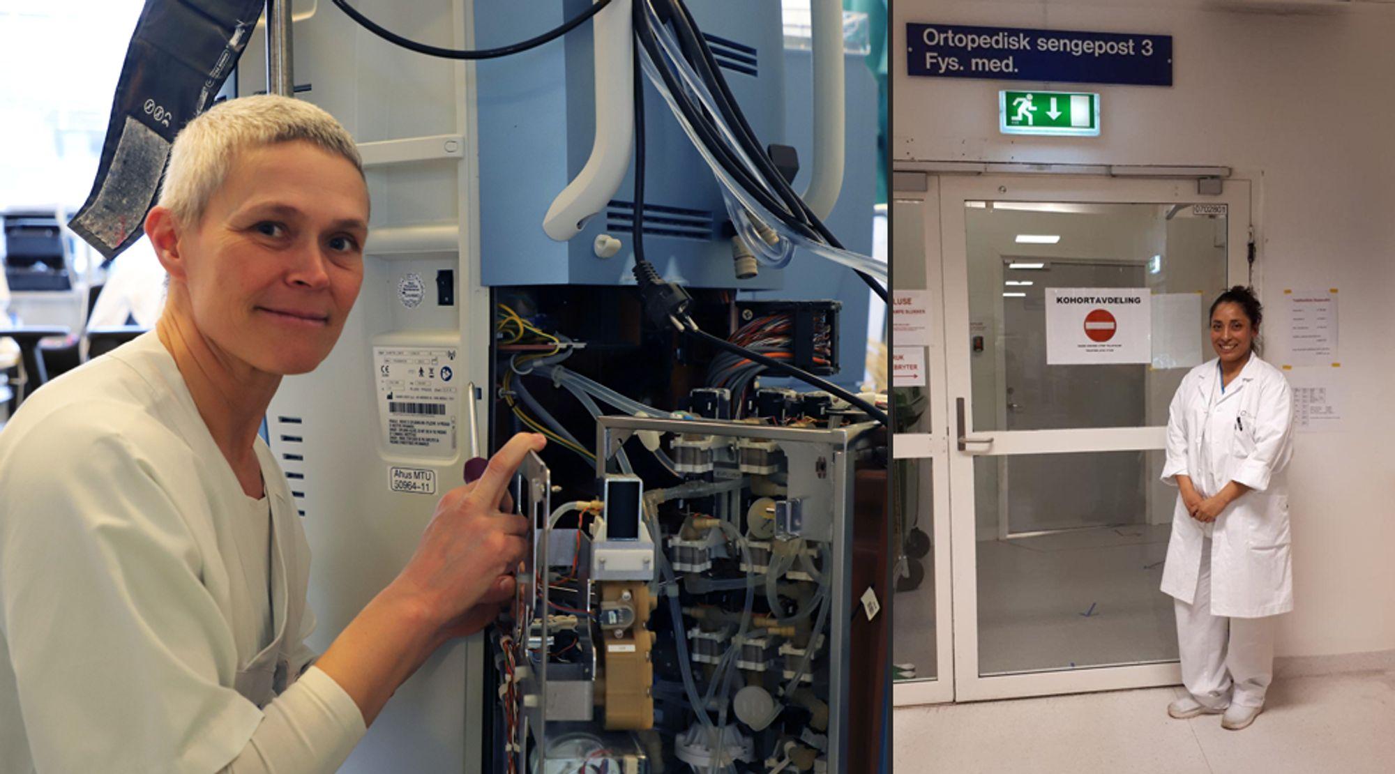 Overingeniør Monica Nyheim ved Ahus og avdelingsingeniør Maria Eugenia Solvang ved OUS.