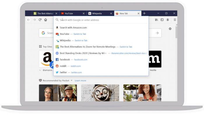 Firefox 75 inkluderer flere endringer i adresse- og søkefeltet, inkludert hurtig visning av de nettstedene brukeren besøker mest.
