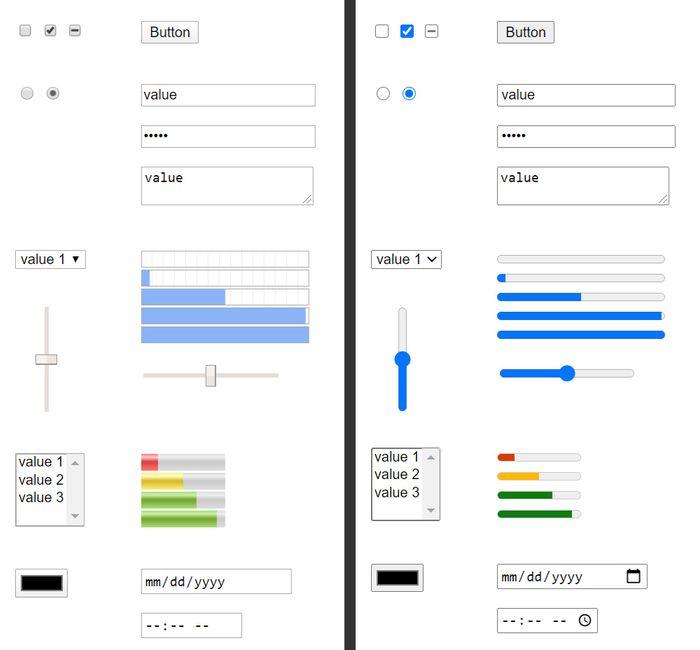 Endringen i utseende på HTML-skjemaelementer i blant annet Chrome. Chrome 80 til venstre, Chrome 83 til høyre.