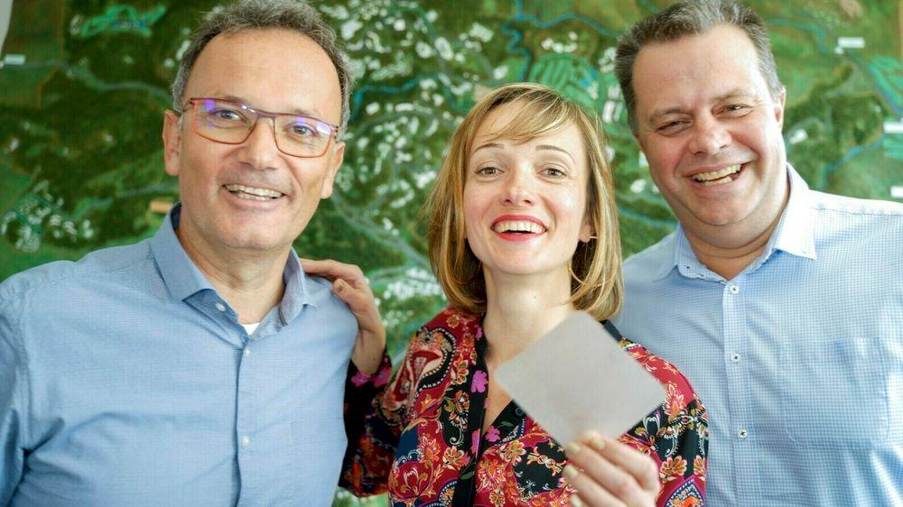 Jean-Henri Suso (t.v.), Jevgenija Purane og Ralf Schmidt fra Biovotec bruker Sophia Antipolis som springbrett for å kapre det europeiske markedet.
