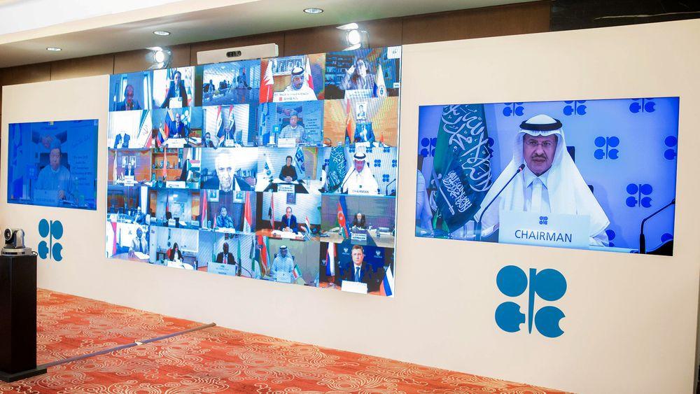 De involverte landene har holdt flere videomøte for å komme fram til en avtale. Her taler prins Abdulaziz bin Salman Al-Saud fra Saudi-Arabia.