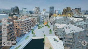 Oslo S Utvikling 3D korona boligsalg prosjektering virtuell visning unreal engine Vannkunsten Bjørvika Bispevika OSU Røisland vianova