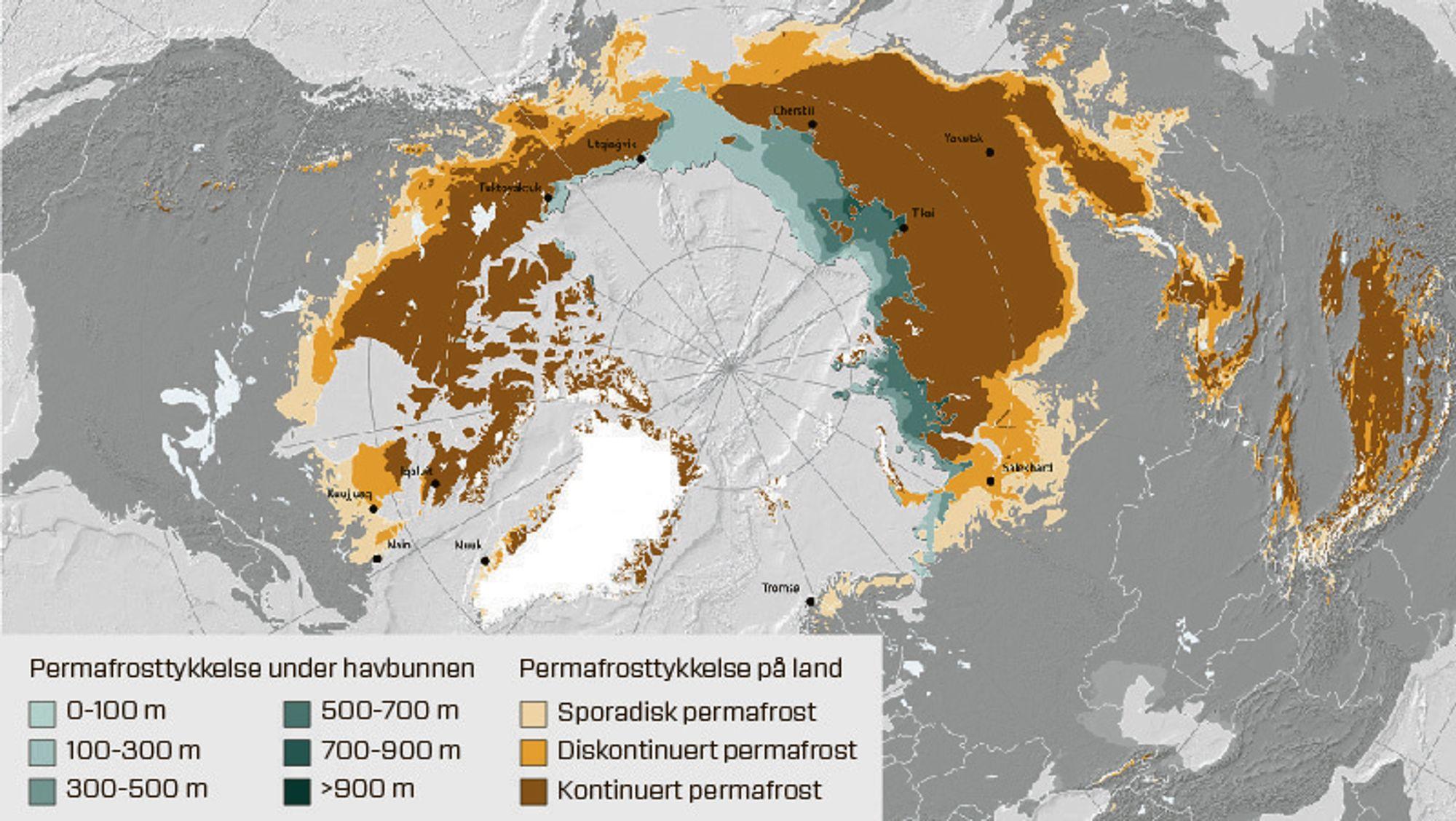 Bildet viser utbredelsen av permafrost på den nordlige halvkule.