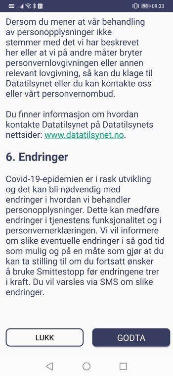 Bunnen av personvernerklæringen i Smittestopp-appen til Folkehelseinstituttet.