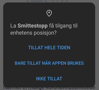 Smittestopp-appen ber om tilgang til enheten posisjon.