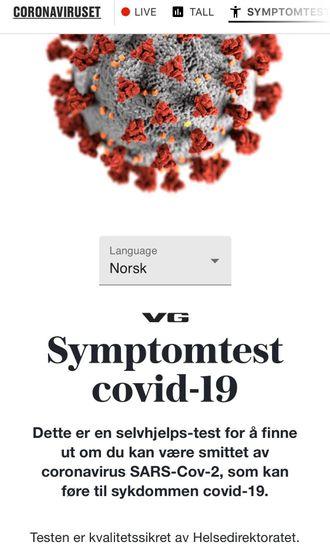 VGs symptomtest for korona.