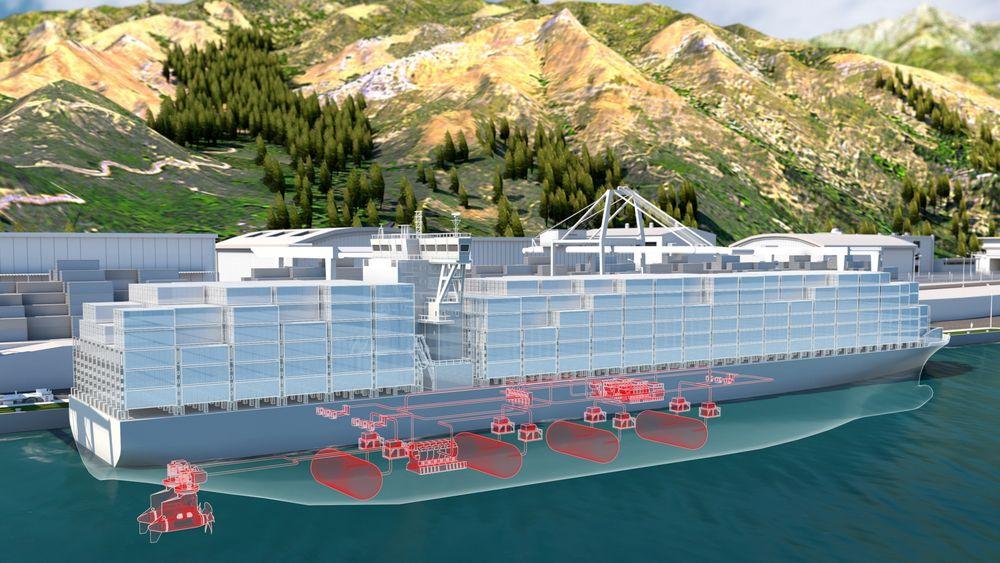 Konseptskisse for et containerskip med brenselcellemoduler og hydrogentanker.