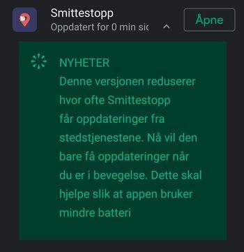 Nyheten i versjon 1.0.4 av Smittestopp-appen er redusert strømforbruk.