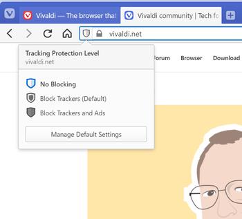 Brukerne av Vivaldi kan for hvert nettsted velge om sporing og eventuelt også annonser skal blokkeres.
