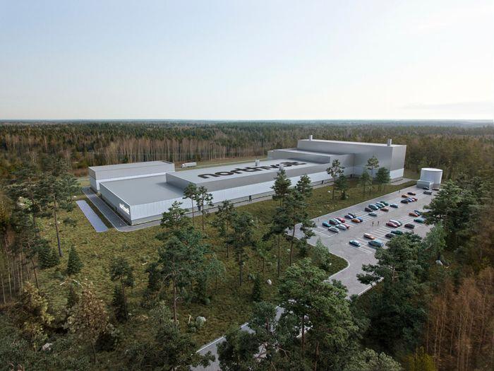 Batterifabrikker må bygges i større tempo enn i dag dersom all veitransport skal elektrifiseres. Bildet viser illustrasjon av Northvolts kommende batterilab i Sverige.