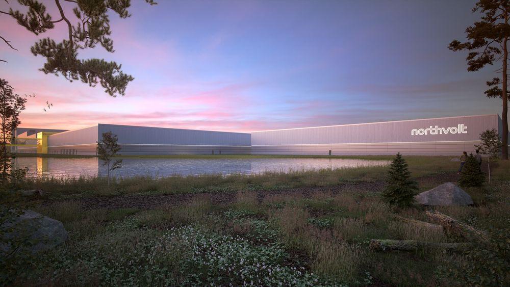 Illustrasjon av den kommende batterifabrikken Northvolt Ett i Skellefteå.