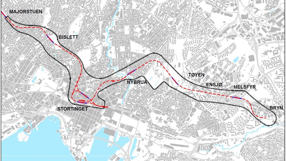 Illustrasjonen viser forslag til T-banenettet med ny tunnel og et kart over planområdet (sort markering), forslag til trasé (stiplet rød linje) og stasjoner (rød med blå markering).