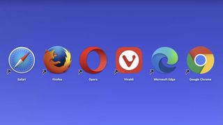 Safari, Firefox, Opera, Vivaldi, Edge og Chrome på en Mac.
