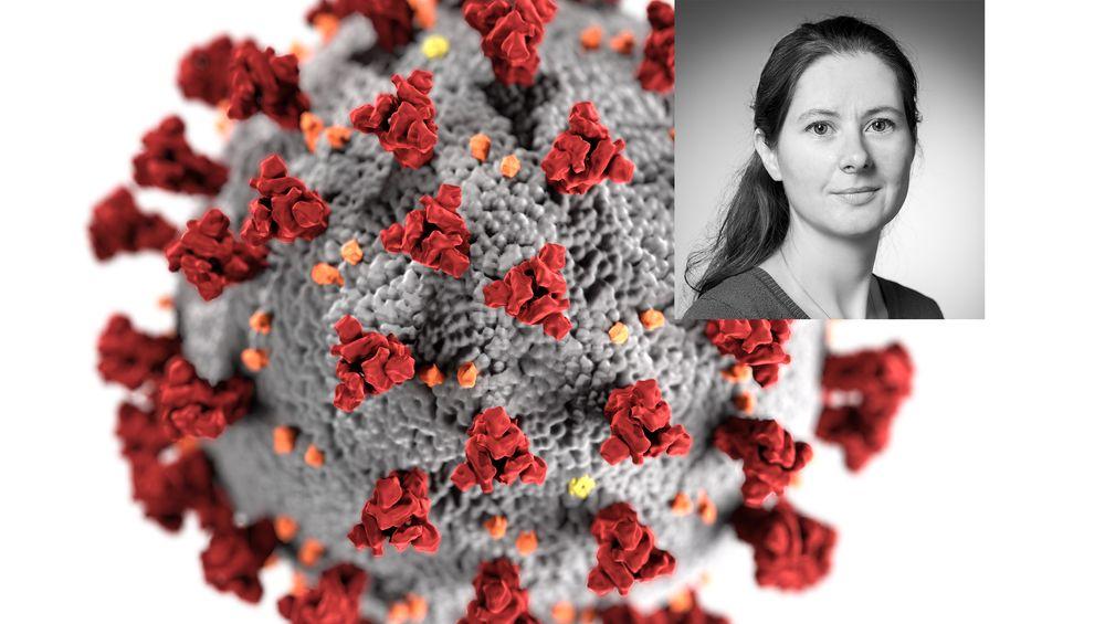 Seniorforsker Gunnveig Grødeland ved Immunologisk Institutt ved Universitetet i Oslo svarer på spørsmål om Korona. Foto: UIO/Montasje