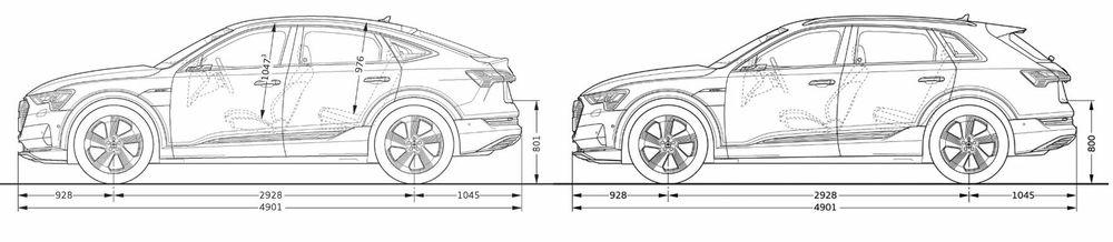 Målene på Sportback (venstre) og SUV-en er stort sett like.
