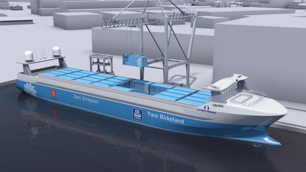 Yara Birkeland er et autonomt konteinerskip som skal gå i skytteltrafikk mellom Herøya og utskipingshavnene i Larvik og Brevik.