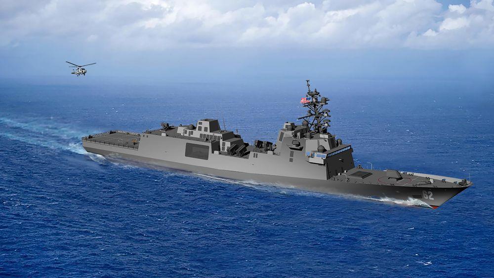 Illustrasjon av US Navys kommende fregatt.