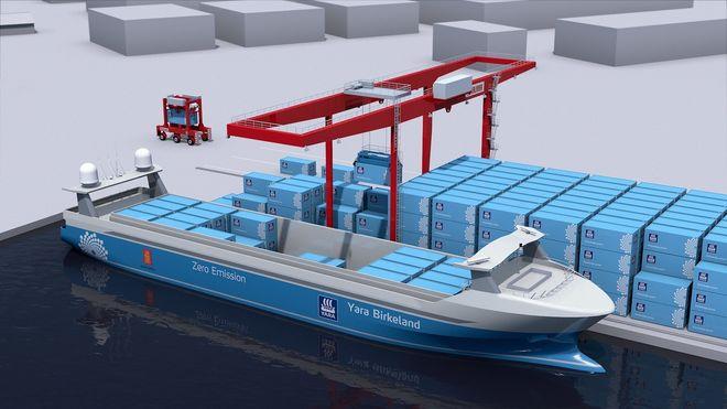 Yara Birkeland er et autonomt konteinerskip. Ligger ved kai med gantrykran til lasting og lossing, samt portalkran med en ferdig fylt container.
