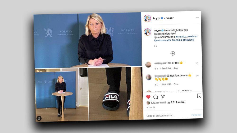 Høyre bruker humor under krisetiden på partiets instagramkonto, der justisminister Monica Mæland er avbildet med tøfler under en pressebriefing om COVID19.