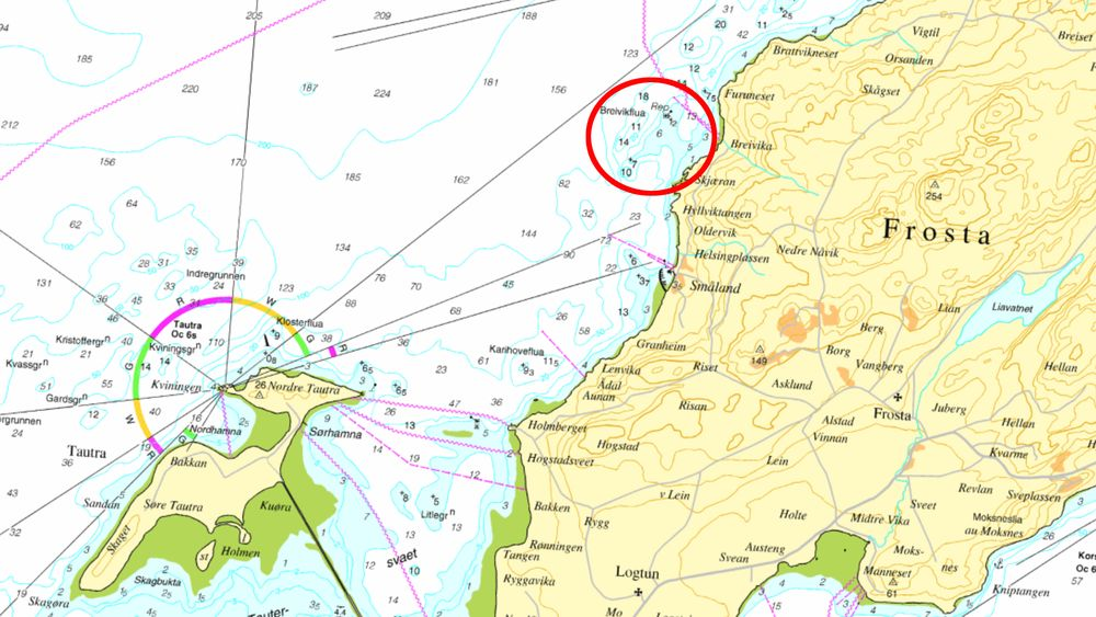 Stridens kjerne er plasseringen av et sjømerke i dette området av Trondheimsfjorden (se markering).