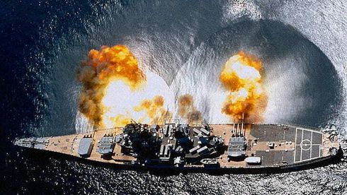Det amerikanske slagskipet USS Iowa. Illustrasjonsfoto.