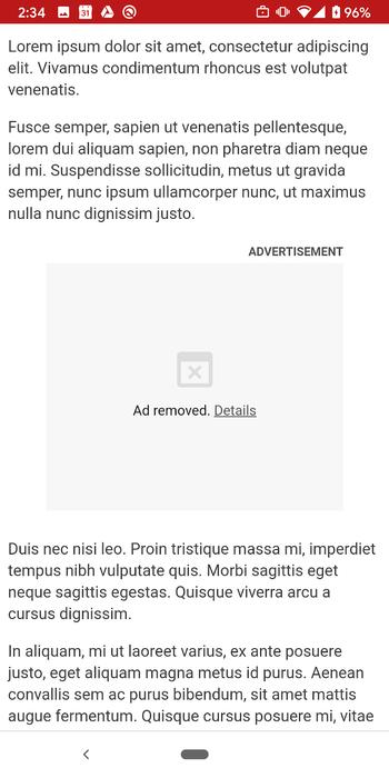 Slik vil annonser framstå i Chrome dersom de har blitt deaktivert på grunn av for høy ressursbruk.