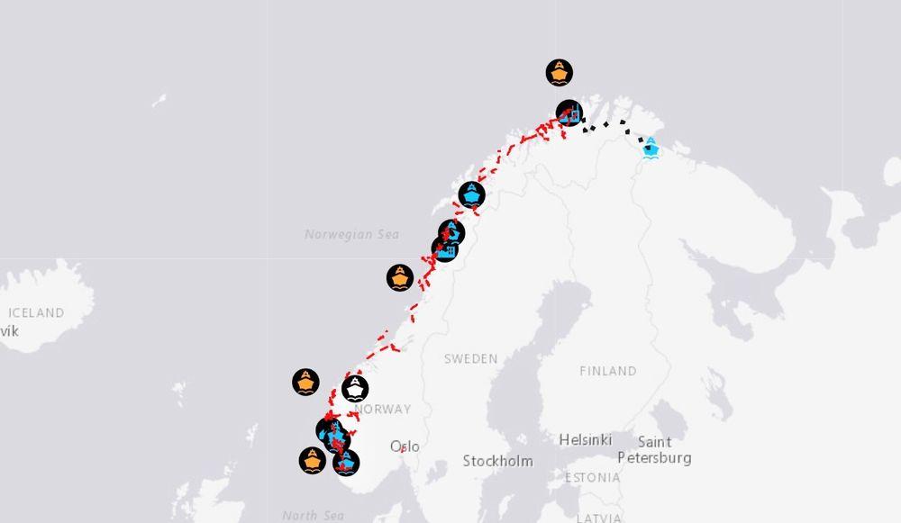 Kartet viser hvor det er aktuelt å bygge ut infrastruktur for hydrogen og ammoniakk fram mot 2035.  Ocean Hydrogen Cluster