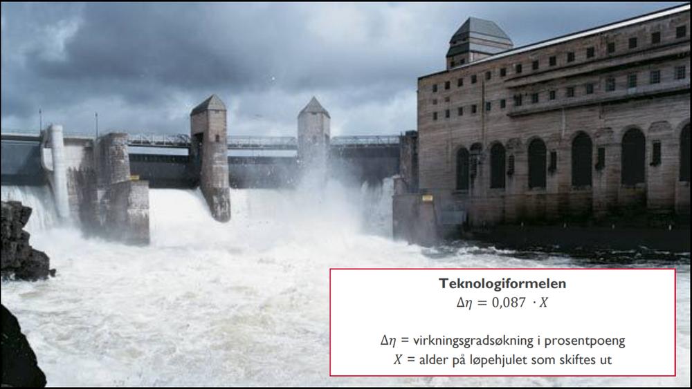 «Teknologiformelen» anslår hvor myevirkningsgraden øker på grunn av bedre teknologi.Bildet er fra Solbergfoss i Askim, der E-CO bytter ut 12 av 13 løpehjul. Det vil øke årsproduksjonen med rundt 27 GWh, eller cirka 2,7 prosent. Oppgraderingen startet i 2011 og skal etter planen være ferdig i år. Turbinene ble opprinnelig bygget mellom 1924 og 1959. Foto: E-CO
