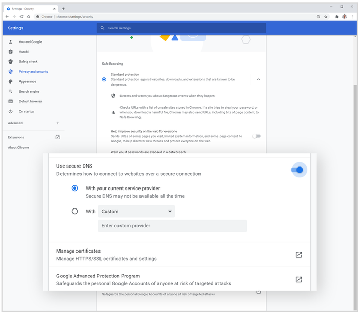 De nye DNS-innstillingene i Chrome 83.