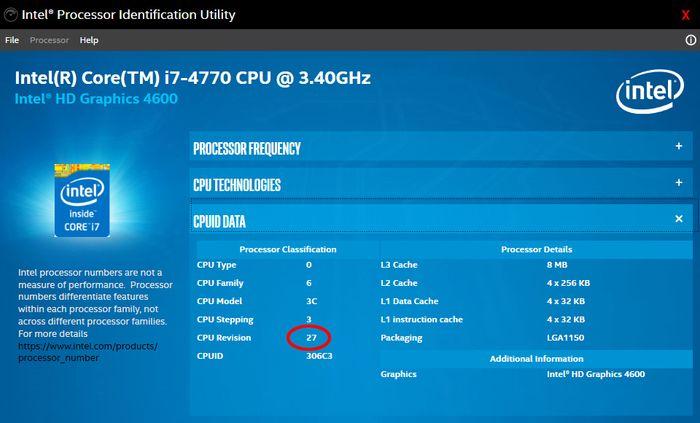 Revisjonsnummeret på mikrokodeoppdateringen til en eldre Intel-prosessor.