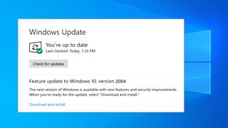 Oppdater til Windows 10, version 2004, i Windows Update.
