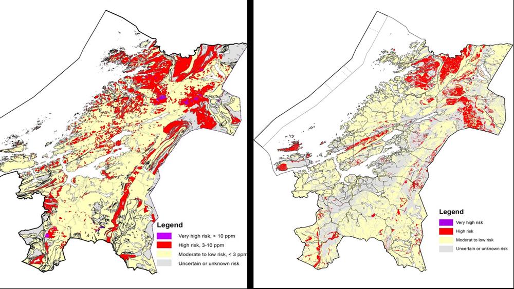 : Til høyre ser du nåværende aktsomhetskart for Trøndelag. Til venstre er det supplert med flere nye data, blant annet uranmålinger fra lufta og geokjemiske analyser av steinprøver. Grå områder viser ukjent risiko, men med nåværende datagrunnlag er de fleste av disse områdene kartlagt. Kilde: NGU