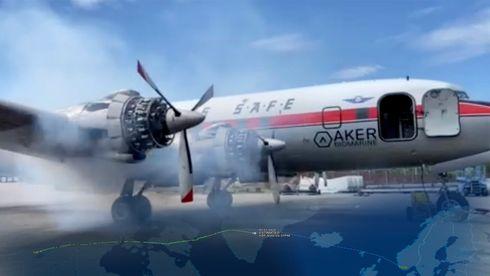 Det gamle DC-6-flyet har fått Braathens-farger og er på vei til Sola