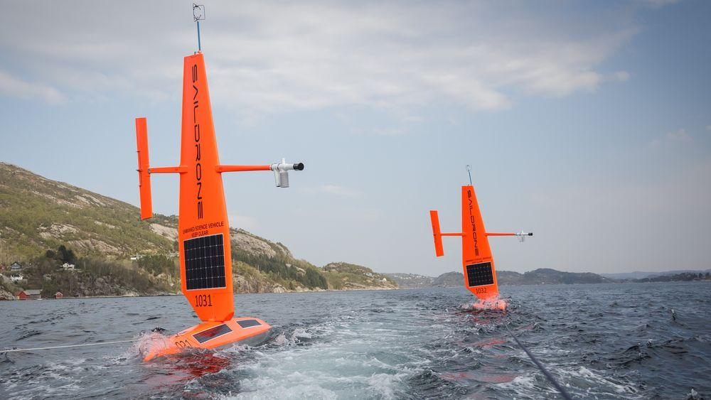 To havforskningsdroner laget av det amerikanske selskapet Saildrone. De skal samle inn data fra Nordsjøen.