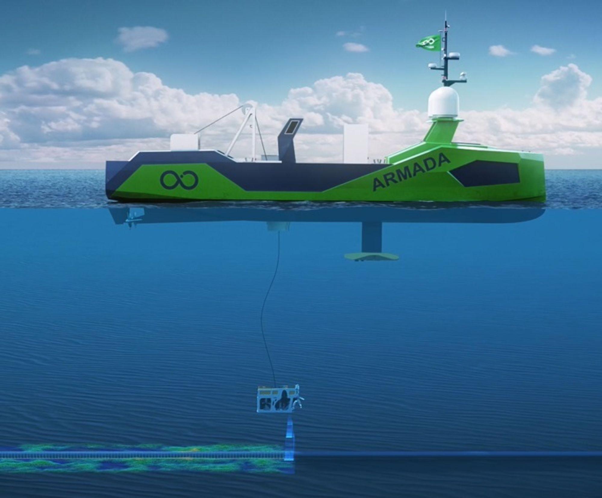 Gjennom en moonpool skal ROV-er settes ut og hentes opp med et system utviklet av Kongsberg Deck Machinery & Motion Control.