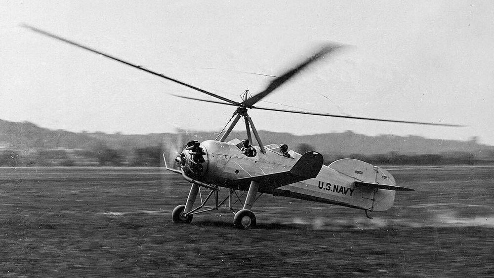 Et amerikansk Pitcairn XOP-1 gyrokopter som tar av. 1931.