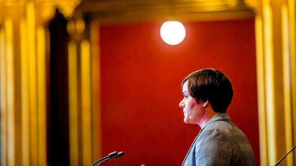 Høyres Margret Hagerup under debatt i Stortingssalen.