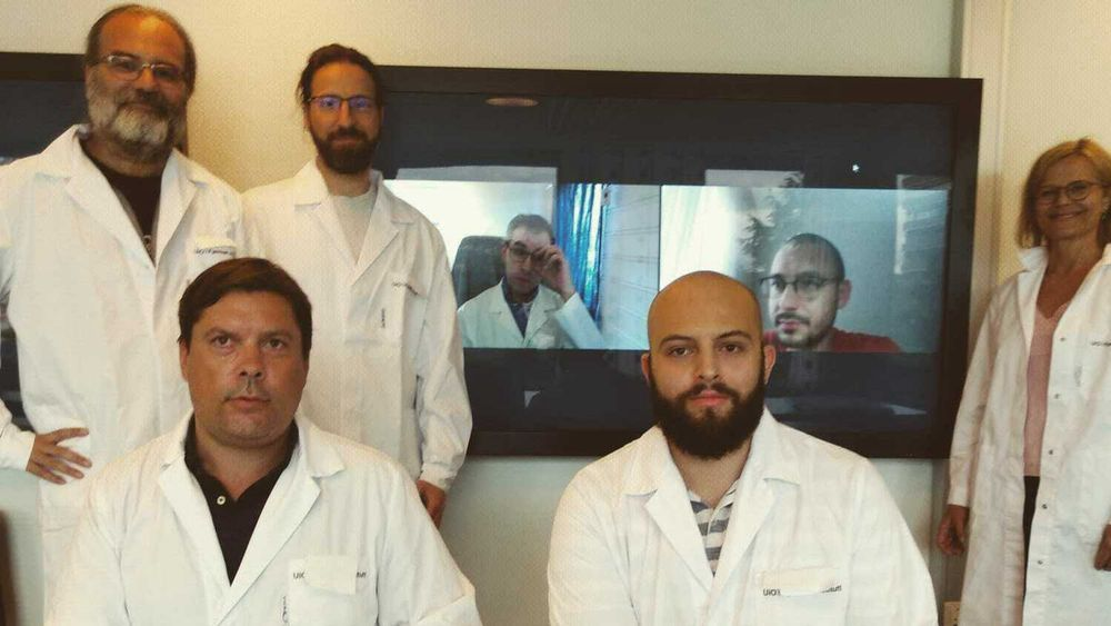 Gjengen fra UiO som skal konkurrere i genmaniulering. Fra venstre: Dirk Linke, Alexander Refsnes (på kne), Athanasios Saragliadis, Martin Eide Lien (Zoom), Jonas Aouay Grønbakken, Muhammed Gecgel(Zoom) og Kirsten Borse Haraldsen.