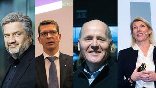 Fra venstre: Simula-sjef Aslak Tveito, Konsernsjef Geir Håøy i Kongsberg Group, Telenor-sjef Sigve Brekke og DNB-sjef Kjerstin R. Braathen er blant de største arbeidsgiverne for IT-folk i staten.