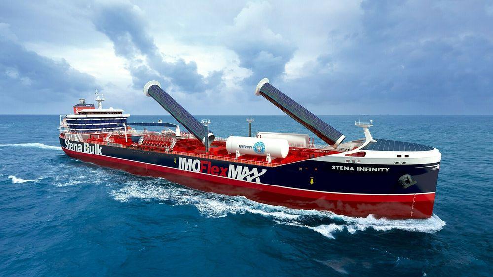 Ny generasjon kjemikalietankskip for Stena Bulk. LNG-motorer, Flettner-rotorer og solcellepanel bidrar til reduserte klimagassutslipp.