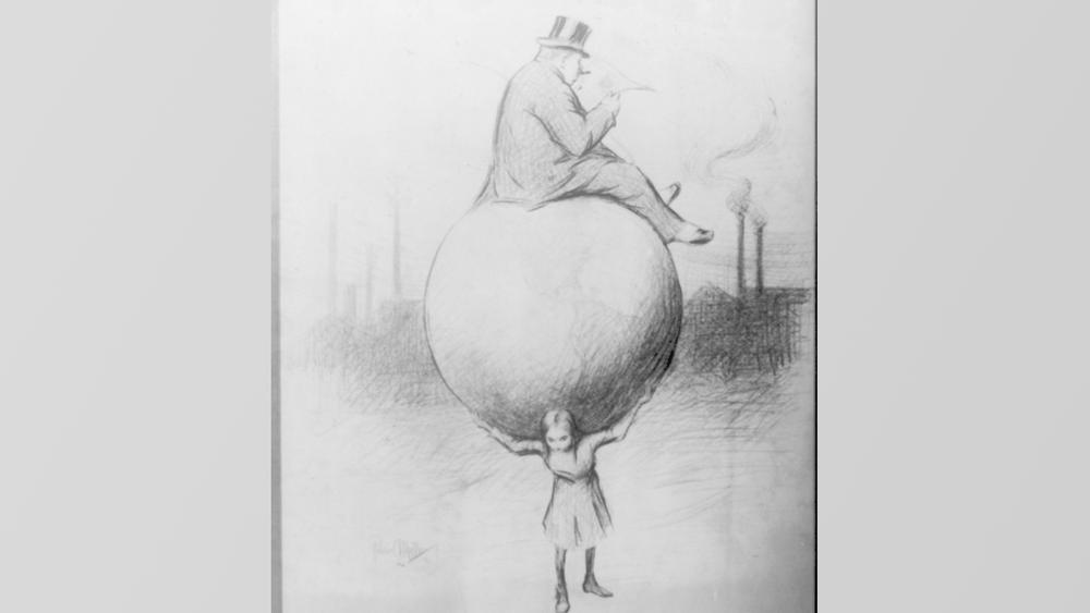 Karikatur tegnet av Lewis Hine, en amerikansk fotograf som dokumenterte barnearbeid i USA på 1900-tallet.