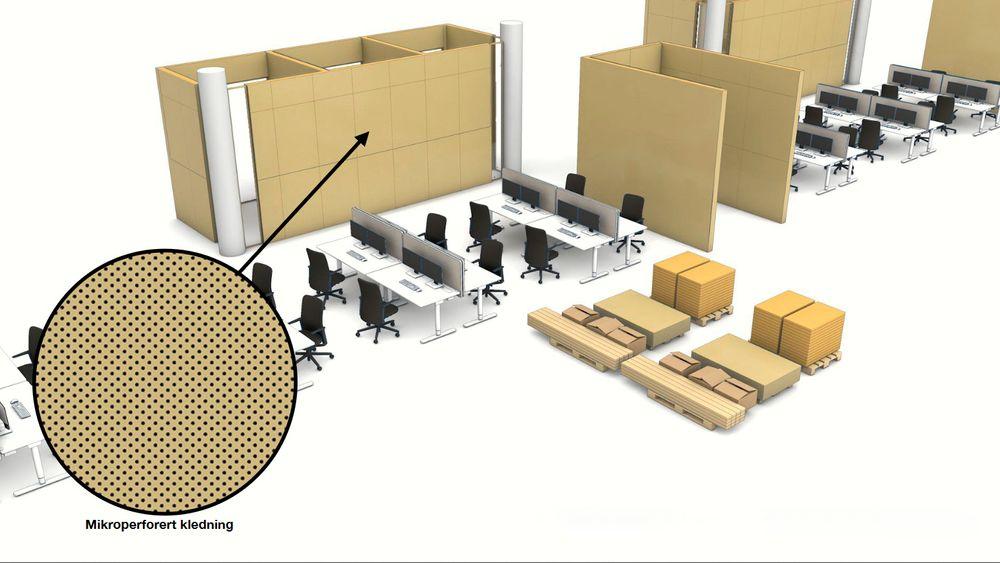Det kan være snakk om opp til 60.000 hull per kvadratmeter. Med tradisjonell lyddemping ville det vært lydabsorberende plater festet på utsiden av veggen på skissen.