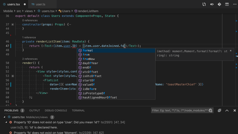 Microsofts Visual Studio Code har innebygd støtte for Typescript.