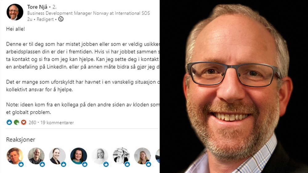 Tore Njå i International SOS skrev en LinkedIn-post for å hjelpe permitterte og konkursrammede.